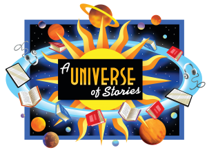 Books and planets revolving around the sun for Summer Reading Program A Universe of Stories